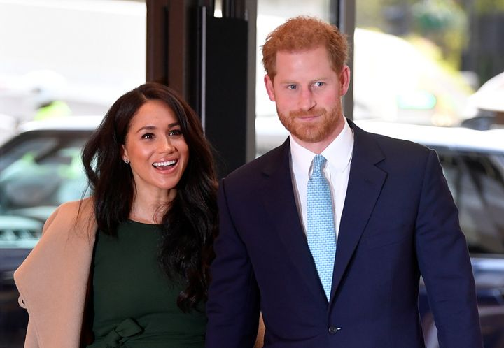 Prince Harry and Meghan Markle in London, England on Oct. 15, 2019.