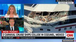 멕시코 코즈멜 항에서 거대한 크루즈 선박끼리