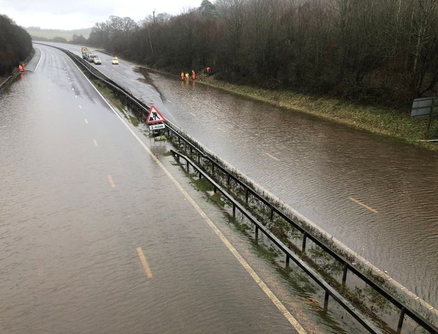 Handout photo taken with permission from the Twitter page of @Sarah_Dodwell of the flooding at the M23...