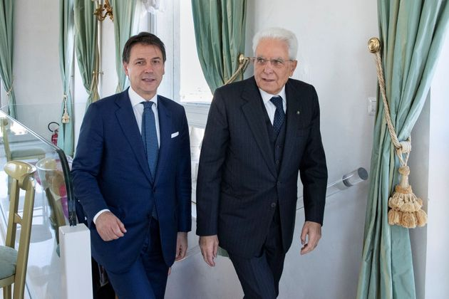 Italian President Sergio Mattarella meets with Prime Minister Giuseppe Conte at the president's palace...