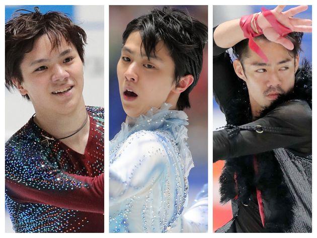 左から、宇野昌磨選手、羽生結弦選手、高橋大輔選手