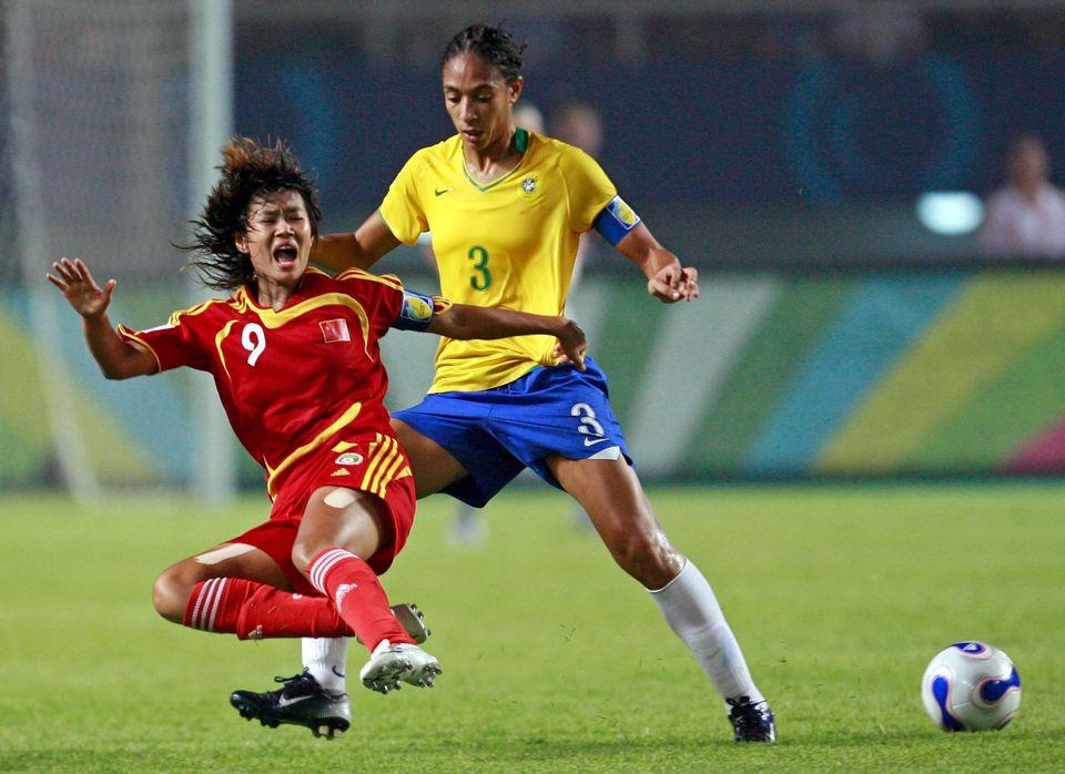Aline Pellegrino,durante a partida contra a China na Copa feminina de