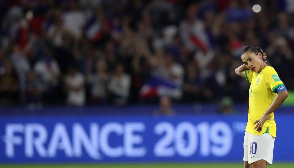 Marta durante jogo contra a França, realizado em Le Havre, na