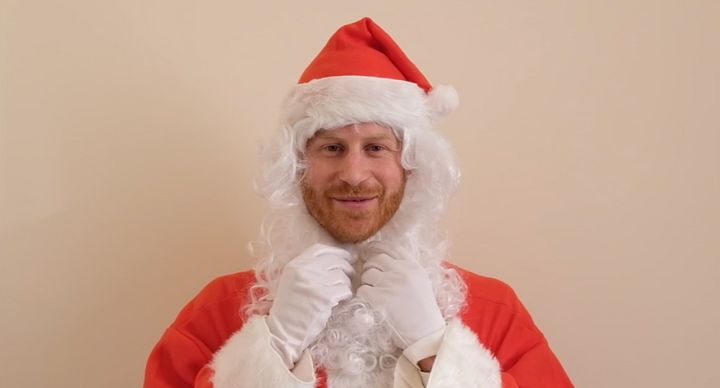 Prince Harry in disguise as Santa for a special holiday message to a children's charity on Dec. 20, 2019