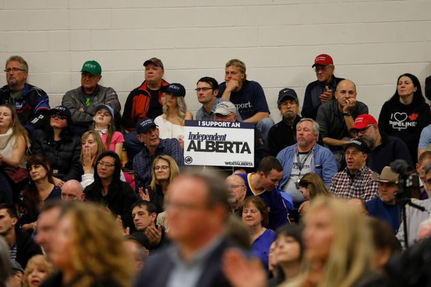 Supporters during a rally for Wexit Alberta, a separatist group seeking federal political party status...