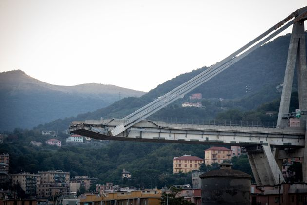 A picture shows the collapsed Morandi motorway bridge in Genoa on September 9, 2018. The giant motorway...