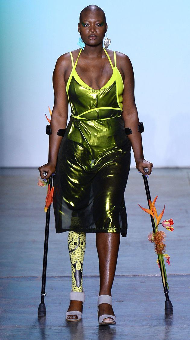 Mama Cax lors de la Fashion Week de New York le 8 février, pour le défilé