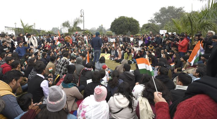 Protesters at Central park, Connaught Place , New Delhi on December 22, 2019.
