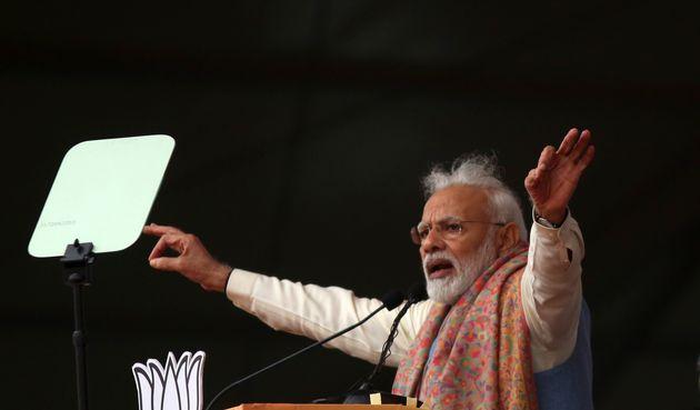 Prime Minister Narendra Modi addressing the rally inNew Delhi on