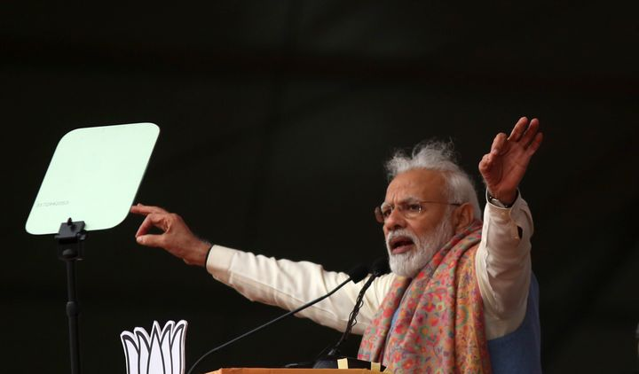 Prime Minister Narendra Modi addressing the rally in New Delhi on Sunday.