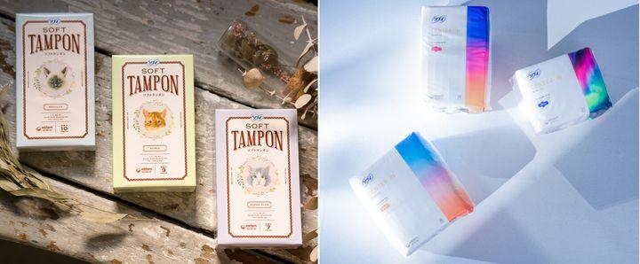 プロジェクト第一弾として開発された新パッケージの生理用品の一例。左はタンポン、右はナプキンで、いずれも12月3日に発売を迎えた