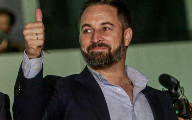 Santiago Abascal, líder de Vox, durante la noche del