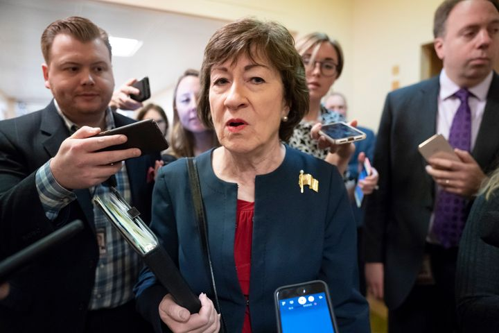 In this Nov. 6, 2019, file photo, Sen. Susan Collins (R-Maine) is surrounded by reporters as she heads to vote at the Capitol