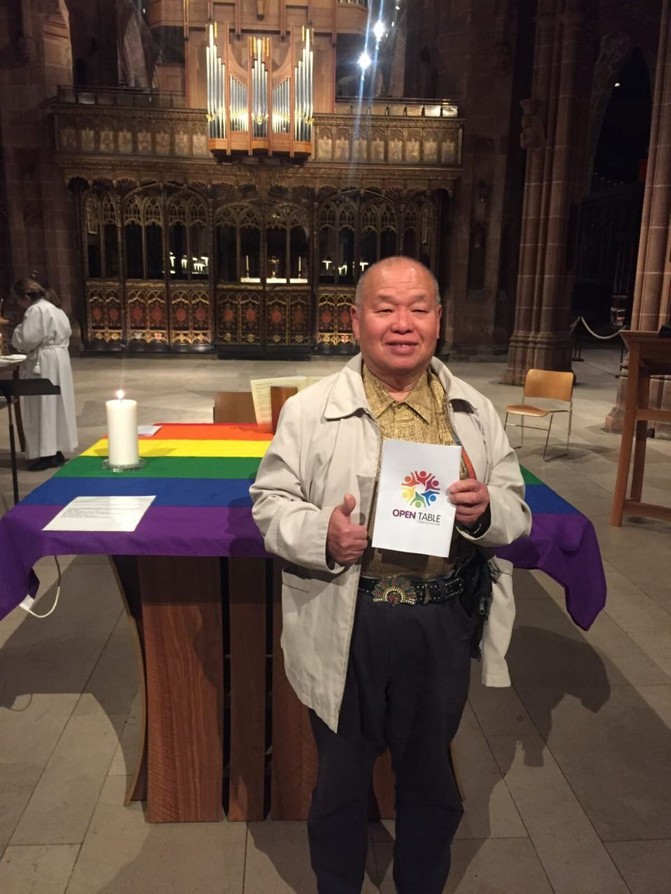 Sam atan Open Table communion service at Manchester Cathedral in September