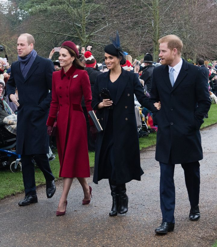 William, Kate, Meghan and Harry attend church service at the Church of St. Mary Magdalene on the Sandringham estate on Dec. 2