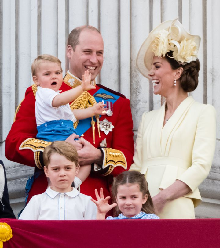 The Duke and Duchess of Cambridge with their three children, Prince George, Princess Charlotte, and Prince Louis.