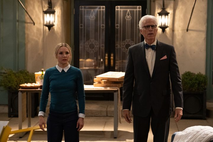 """Kristen Bell as Eleanor and Ted Danson as Michael in NBC's """"The Good Place,"""" which is coming to an end after a four-season ru"""
