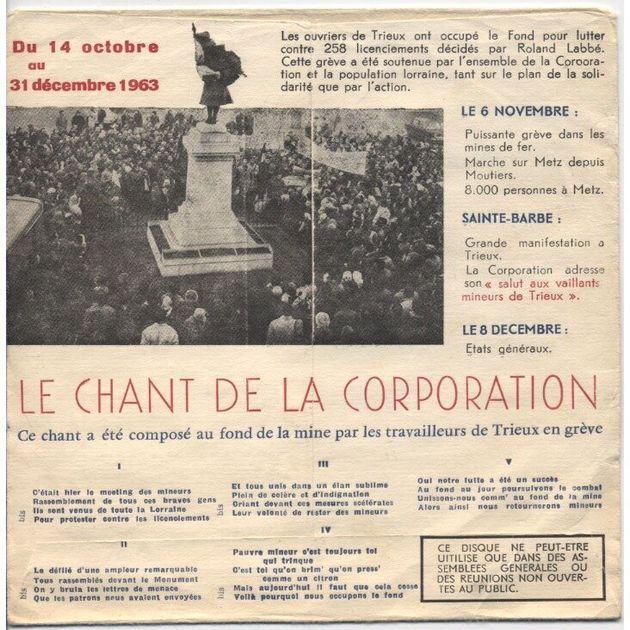 La chanson des mineurs, enregistrée en soutien aux grévistes de Trieux à Noël 1963, restés 79 jours dans...