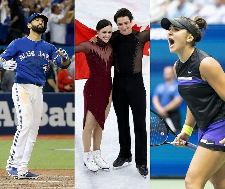 A composite of iconic Canadian sports moments in the 2010s, including Jose Bautista's bat flip, Tessa Virtue and Scott Moir, and tennis star Bianca Andreescu.