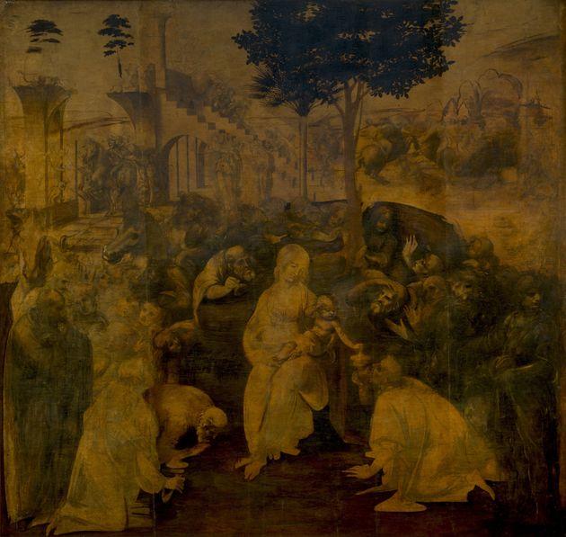 Η Λατρεία /Προσκύνηση των Μάγων (Adorazione dei Magi), Leonardo da Vinci, 1481-1482. Πινακοθήκη Uffizi,...