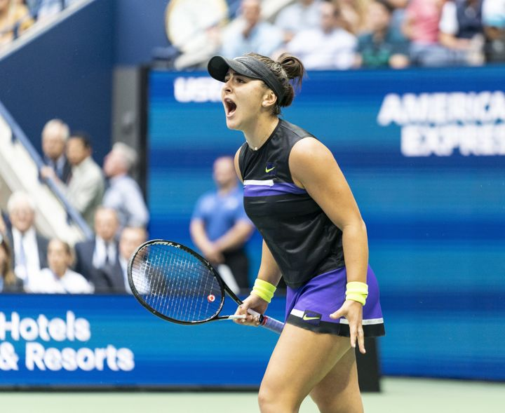 Bianca Andreescu in action against Serena Williams during the US Open Championships women's singles final match in New York, United States on September 7, 2019.
