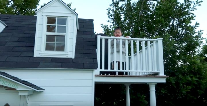Stormi Webster, who turns 2 in February, on the balcony of her new playhouse.