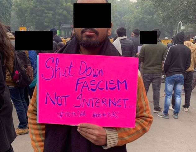 This protestor in Delhi also highlighted the Internet bans across