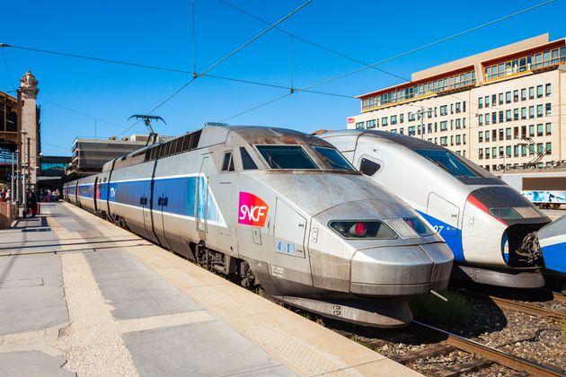 MARSEILLE, FRANCE - SEPTEMBER 23, 2018: TGV intercity high speed train at the Marseille railway