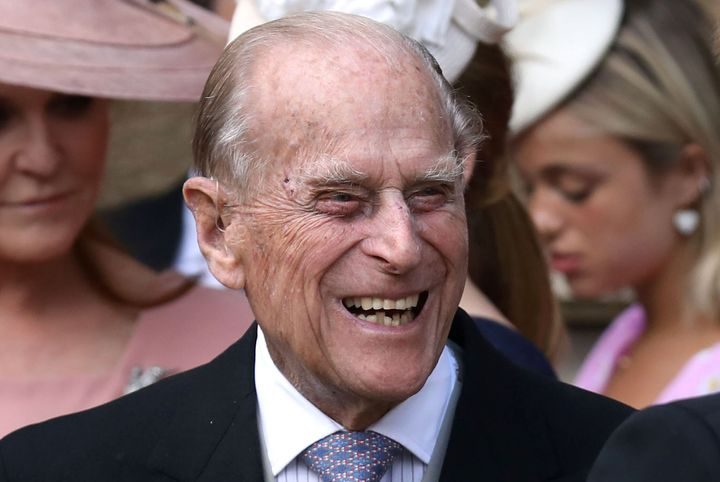 "Britain's Prince Philip is seen here in Windsor Castle near London on May 18, 2019. He was admitted to hospital last Friday for treatment of a ""pre-existing condition."""