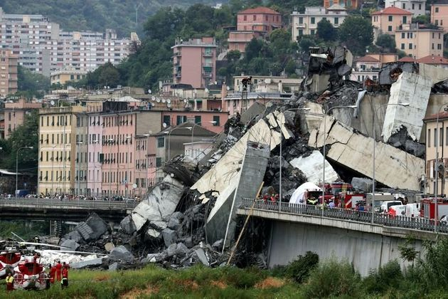 FILE PHOTO: The collapsed Morandi Bridge is seen in the Italian port city of