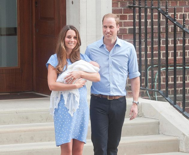 Kate and William leave The Lindo Wing at St Mary's Hospital with their newborn son on July 22,