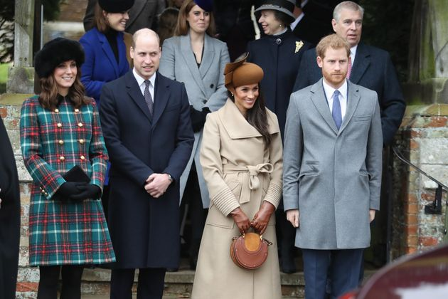 Members of the royal family and Meghan Markle, who was engaged to Prince Harry at the time, attend a...