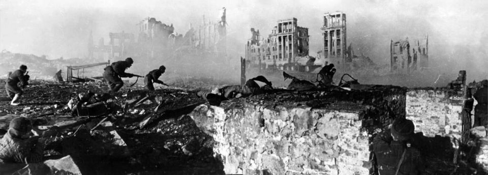 """""""Soviet soldiers attack"""". Soviet soldiers on the attack on the house,"""