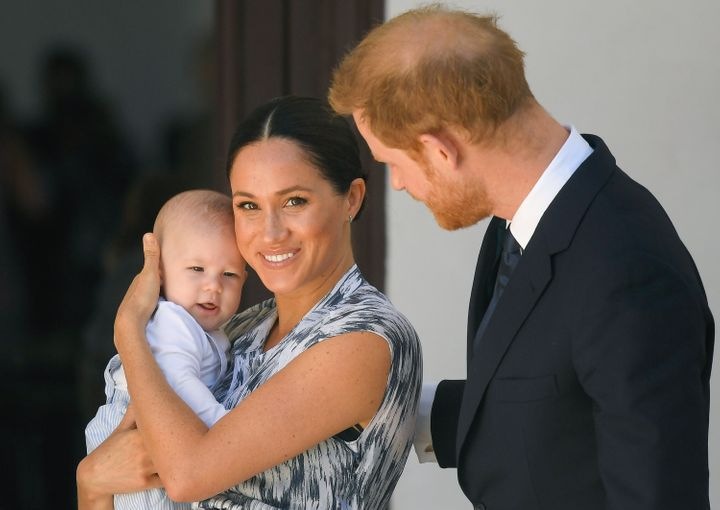 The Duke and Duchess of Sussex and their baby son Archie Mountbatten-Windsor during their royal tour of South Africa on Sept. 25, 2019.
