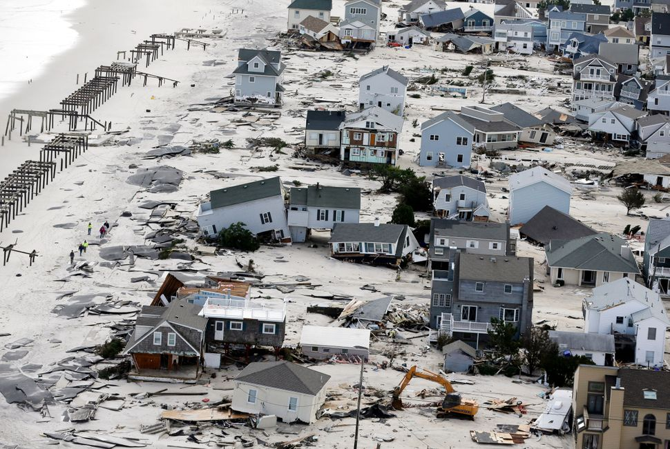 This Oct. 31, 2012, aerial photo shows destruction in the wake of Superstorm Sandy in New Jersey.