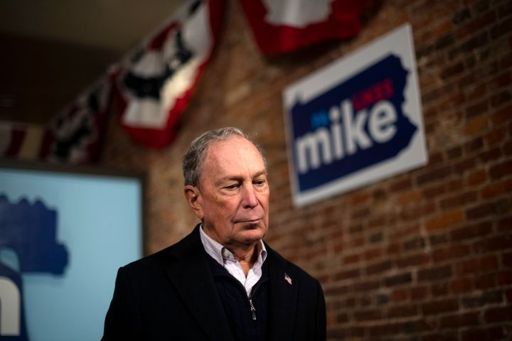 Former New York City Mayor Michael Bloomberg addressing the press from a new field office for his 2020 presidential campaign