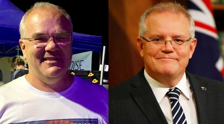 Canadian Shawn McCormick, left, has discovered he looks quite similar to Australian Prime Minister Scott Morrison, for better or worse.