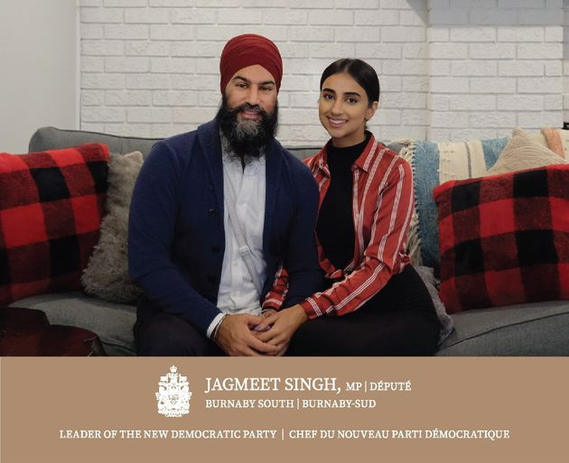 NDP leader Jagmeet Singh is seen with his wife Gurkiran Kaur on the front of his holiday