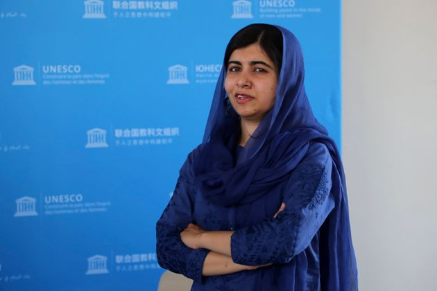 Nobel laureate Malala Yousafzai poses for photographs during the Education and Development G-7 ministers...