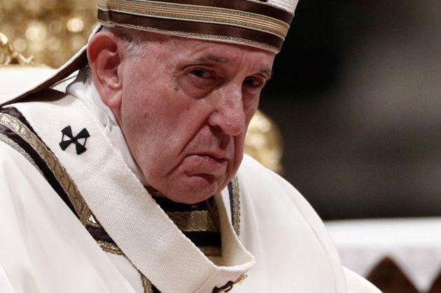 Le pape François au Vatican, lors de son homélie du 24 décembre où il a dénoncé...