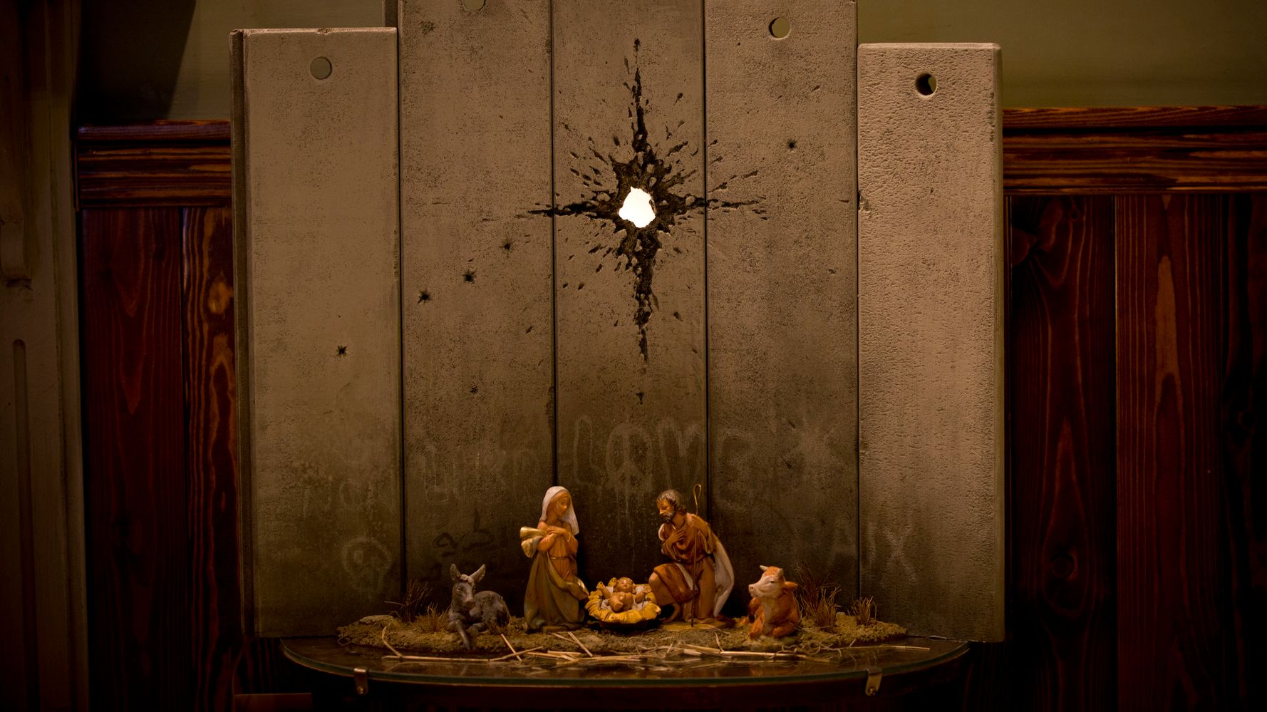 Banksy Unveils Poignant 'Scar Of Bethlehem' Nativity Scene For Christmas