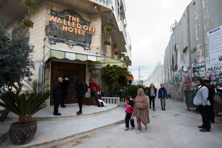 The Walled Off Hotel, located alongside the Israeli West Bank barrier.