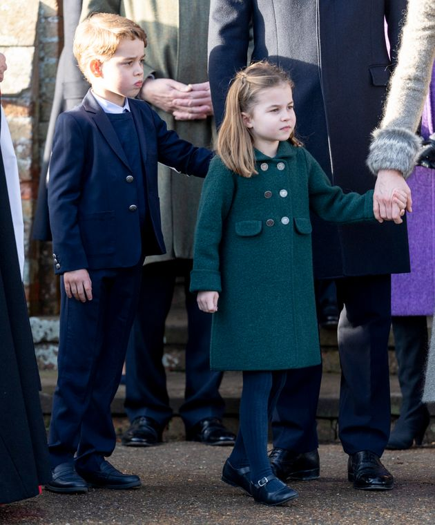 Prince George and Princess Charlotte of Cambridge attend the Christmas Day Church service at Church of St. Mary Magdalene on the Sandringham estate on Dec. 25, 2019.