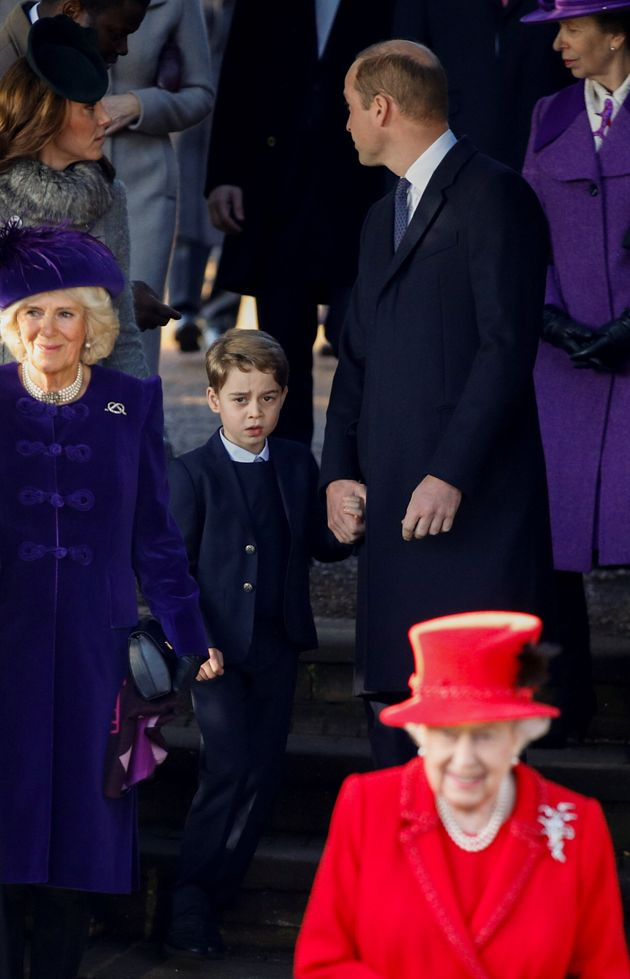 Queen Elizabeth, Camilla, William, the Duchess of Cambridge and Prince George leave the St Mary Magdalene's church.