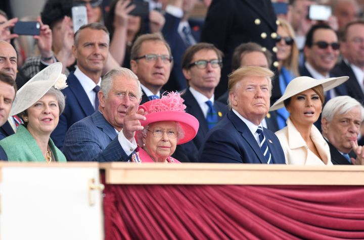 Then Prime Minister Theresa May, Prince Charles, the Queen and US President Donald Trump and First Lady Melania Trump at the 75th Anniversary of the D-Day Landings event at Southsea Common in Portsmouth, June