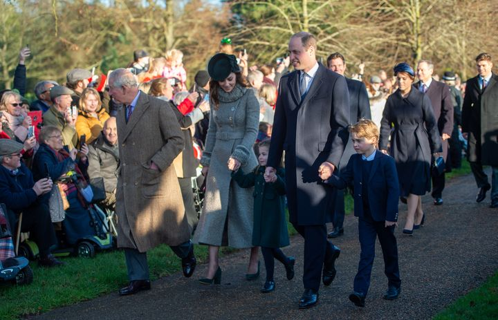 The Prince of Wales, the Duke and Duchess of Cambridge and their children Prince George and Princess Charlotte arrive to attend the Christmas Day morning church service at St Mary Magdalene Church in Sandringham, Norfolk on Dec. 25, 2019.