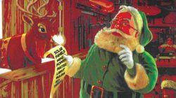 Le traîneau électrique d'un père Noël écolo fait des flammèches en