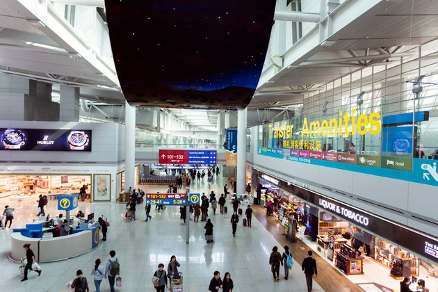 Seoul, Korea - March 15, 2017: Interior of the transit lounge and duty free shops at Incheon International...