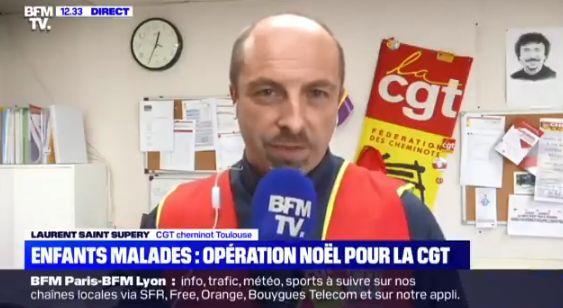 Laurent Saint Supery, de la CGT Cheminots de Toulouse, sur BFMTV le 25 décembre