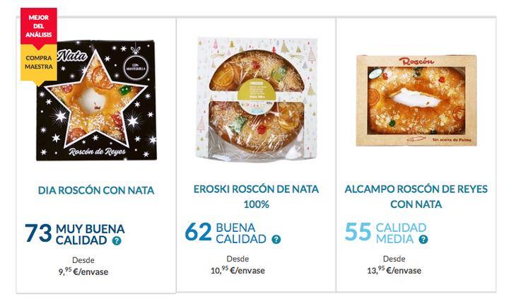 Los mejores roscones de Reyes, según la OCU.